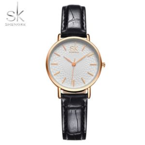 SK Super Slim Silver Mesh Stainless Steel Watches Women Top Brand Luxury Casual Clock Ladies Wrist Watch Lady Relogio Feminino One Style Leather Black 02 One Size