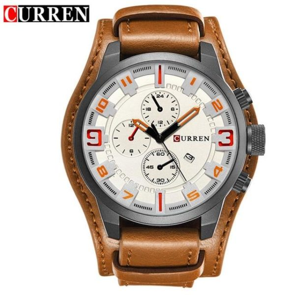 Curren 8225 Army Military Quartz Mens Watches Top Brand Luxury Leather Men Watch Casual Sport Male Clock Watch Relogio Masculino One Style Black White One Size