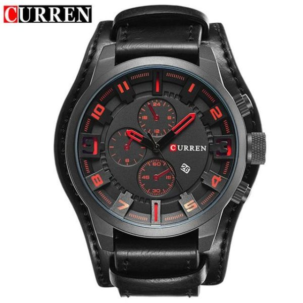 Curren 8225 Army Military Quartz Mens Watches Top Brand Luxury Leather Men Watch Casual Sport Male Clock Watch Relogio Masculino One Style Black Red One Size