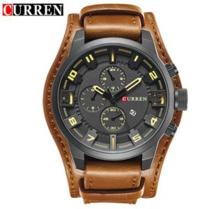 Curren 8225 Army Military Quartz Mens Watches Top Brand Luxury Leather Men Watch Casual Sport Male Clock Watch Relogio Masculino One Style Black Yellow One Size