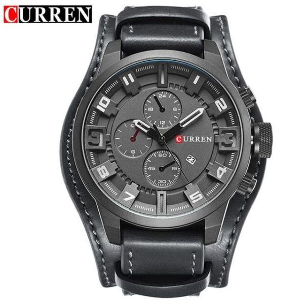 Curren 8225 Army Military Quartz Mens Watches Top Brand Luxury Leather Men Watch Casual Sport Male Clock Watch Relogio Masculino One Style Black Gray One Size
