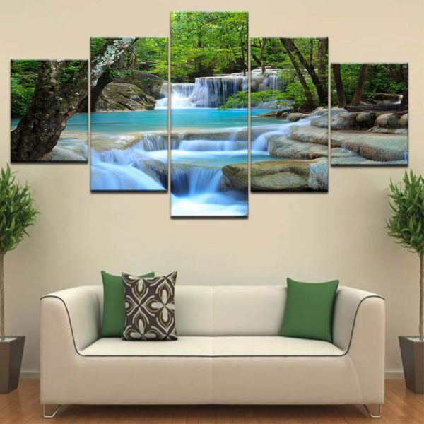 HD Prints Canvas Posters Home Decor 5 Pieces Natural Waterfall Paintings Wall Art Scenery Pictures Modular Living Room Framework One Style Frame 10x15 10x20 10x25cm