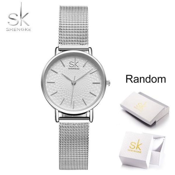 SK Super Slim Silver Mesh Stainless Steel Watches Women Top Brand Luxury Casual Clock Ladies Wrist Watch Lady Relogio Feminino One Style Sliver With Box One Size