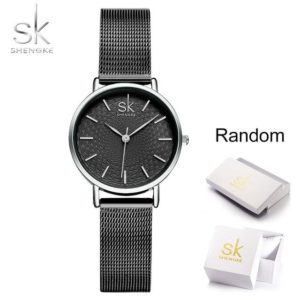 SK Super Slim Silver Mesh Stainless Steel Watches Women Top Brand Luxury Casual Clock Ladies Wrist Watch Lady Relogio Feminino One Style Black With Box One Size