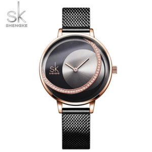 SK Fashion Luxury Brand Women Quartz Watch Creative Thin Ladies Wrist Watch For Montre Femme 2019 Female Clock relogio feminino One Style Rose Black M One Size