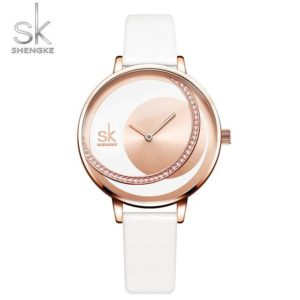 SK Fashion Luxury Brand Women Quartz Watch Creative Thin Ladies Wrist Watch For Montre Femme 2019 Female Clock relogio feminino One Style Rose White L One Size