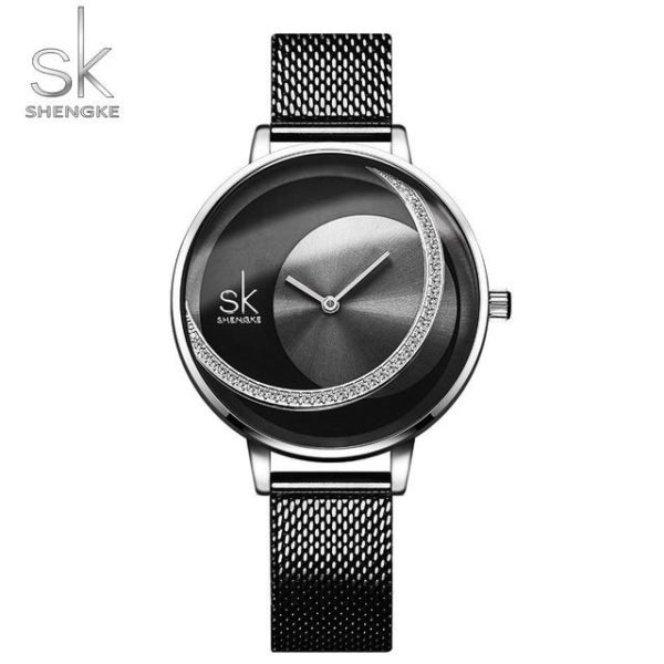 SK Fashion Luxury Brand Women Quartz Watch Creative Thin Ladies Wrist Watch For Montre Femme 2019 Female Clock relogio feminino One Style Black M One Size