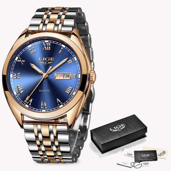 2019 LIGE New Rose Gold Women Watch Business Quartz Watch Ladies Top Brand Luxury Female Wrist Watch Girl Clock Relogio Feminin One Style Rose Gold Blue One Size