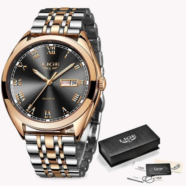 2019 LIGE New Rose Gold Women Watch Business Quartz Watch Ladies Top Brand Luxury Female Wrist Watch Girl Clock Relogio Feminin One Style Rose Gold Black One Size
