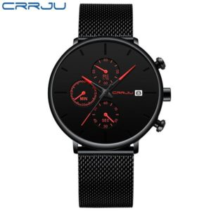 CRRJU Men Watch Reloj Hombre 2019 Mens Watches Top Brand Luxury Quartz Watch Big Dial Sport Waterproof Relogio Masculino Saat One Style Red One Size