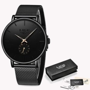 LIGE 2019 New Fashion Sports Mens Watches Top Brand Luxury Waterproof Simple Ultra-Thin Watch Men Quartz Clock Relogio Masculino One Style Black Rose Gold One Size